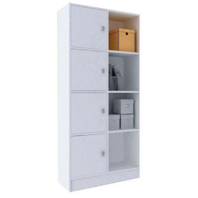 Biblioteca con puertas y estantes de MDP blanca