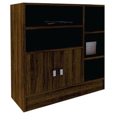 Biblioteca armario con 2 puertas de MDP castaño