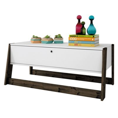 Mesa ratona de MDP y madera rectangular blanca con 1 cajón