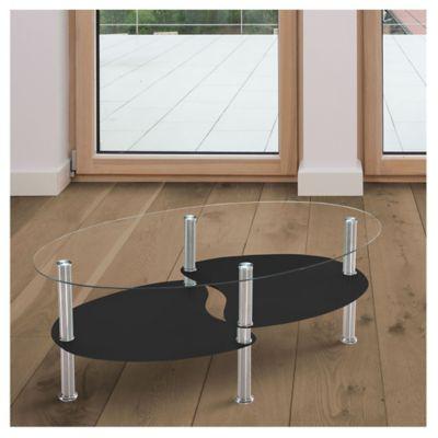 Mesa ratona de caño y vidrio templado ovalada negra y plateada con 2 estantes