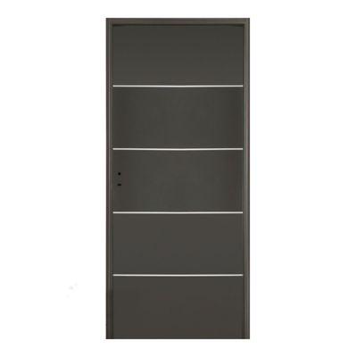 Puerta exterior de acero con buñas horizontales grafito 80 cm derecha