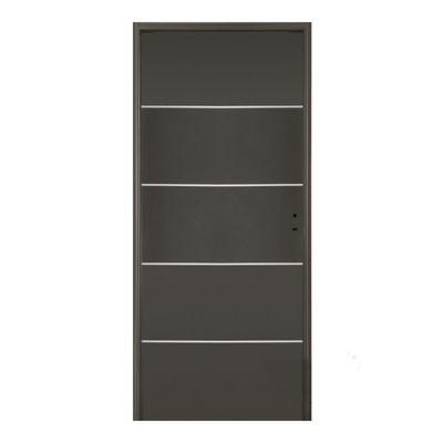 Puerta exterior de acero con buñas horizontales grafito 80 cm izquierda
