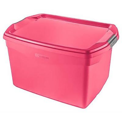 Caja organizadora de plástico rosa 29 L