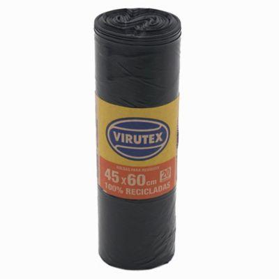 Pack de 20 bolsas de basura negra 45 x 60 cm
