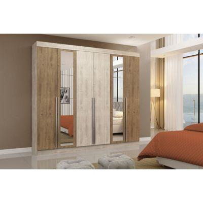 Placard New Turim 6 puertas con 4 cajones vainilla y marrón