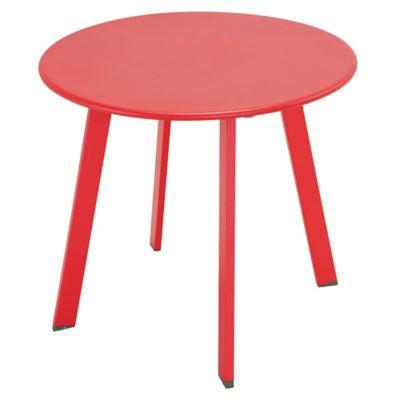 Mesa lateral de jardín de acero roja