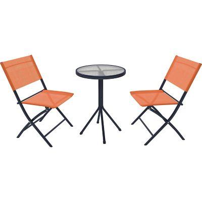 Juego de balcón Capuccino de acero y textileno 3 piezas naranja