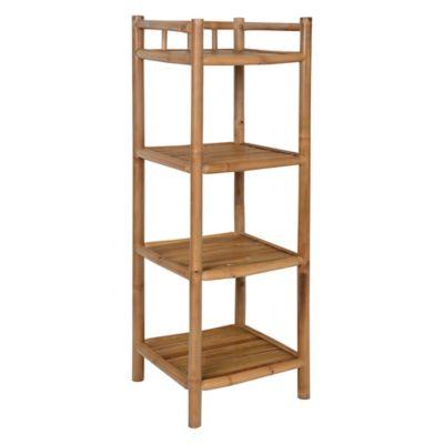 Estantería 4 niveles de bamboo 33 x 33 x 97 cm natural
