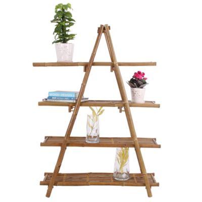 Estantería 1 nieves plegable de bamboo 100 x 35 x 140 cm natural
