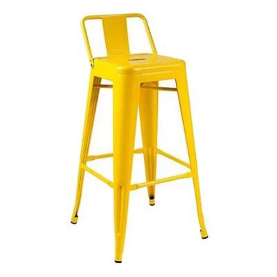 Silla bar Tolix con respaldo amarilla