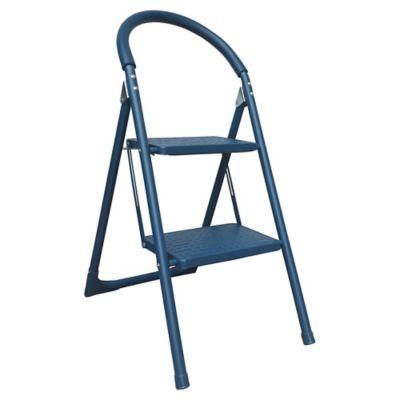 Escalera doméstica plegable 2 escalones azul