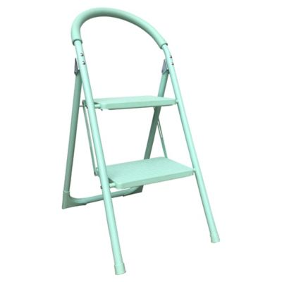 Escalera tijera doméstica de aluminio 2 escalones menta 83 cm