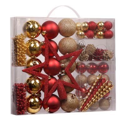 Set de 62 adornos navideños rojo y dorado