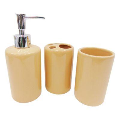 Set de 3 accesorios de baño de cerámica crema