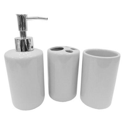 Set de 3 accesorios de baño de cerámica gris