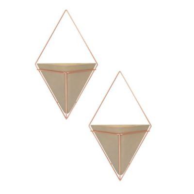 Maceta colgante Trigg concreto y cobre