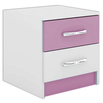 Mesa de luz con 2 cajones rosa