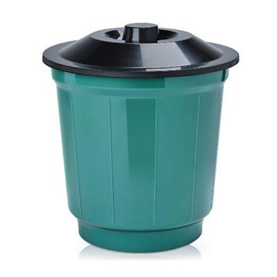Basurero 20 L de plástico verde y negro con tapa