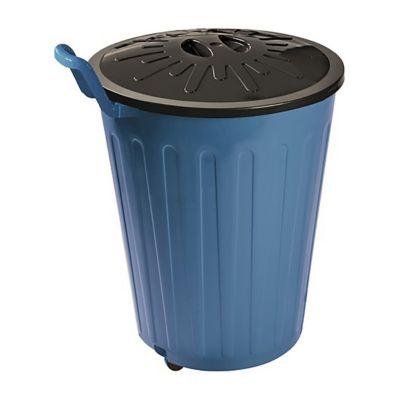 Basurero 100 L de plástico azul y negro con rueda y tapa