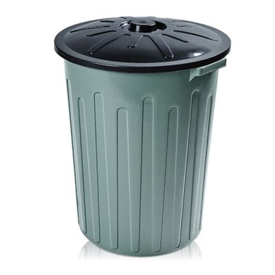 Basurero 65 L de plástico verde y negro con tapa