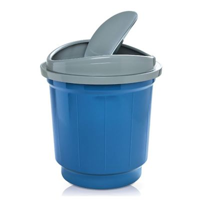 Basurero 20 L de plástico azul y gris con tapa vai ven