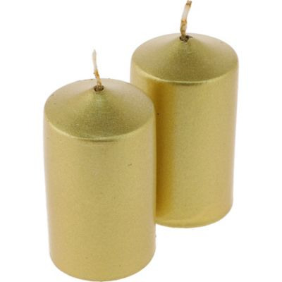 Pack de 4 velas 6 cm dorada