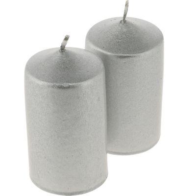 Pack de 4 velas 6 cm plateada