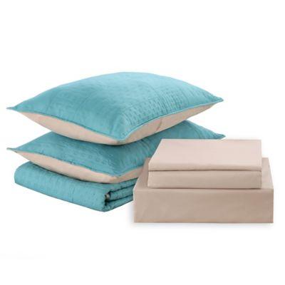 Cubrecama + sábanas 2 plazas celeste y beige