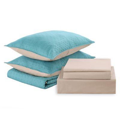 Cubrecama + sábanas 1.5 plazas celeste y beige