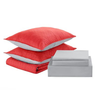 Cubrecama + sábanas 2 plazas coral y gris