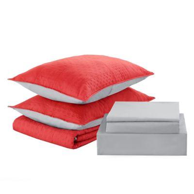 Cubrecama + sábanas 1.5 plazas coral y gris