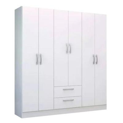 Placard Cacique 6 puertas 2 cajones blanco