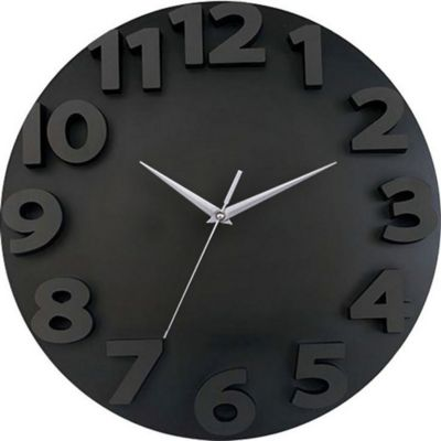 Reloj de pared 3D 50 x 50 cm negro