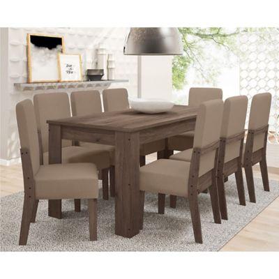 Juego de comedor Dubai beige 1 mesa y 8 sillas