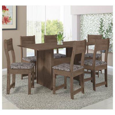 Juego de comedor Talita nogal 1 mesa y 6 sillas