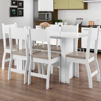 Juego de comedor Talita blanco 1 mesa y 6 sillas