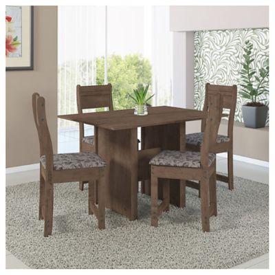 Juego de comedor Talita nogal 1 mesa y 4 sillas