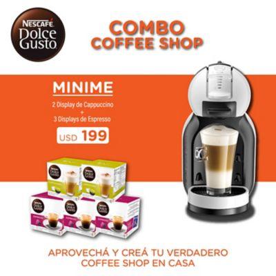 Cafetera Mini Me 1500 w blanca y negra con 5 cajas de cápsulas