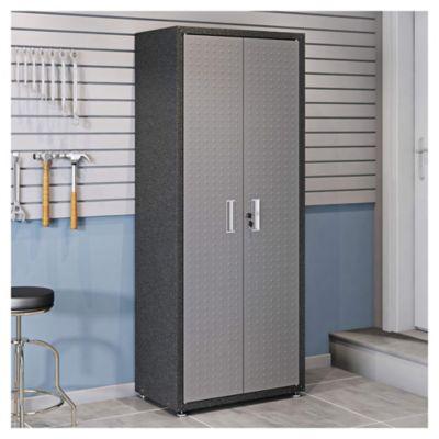 Armario de acero alto 4 estantes negro y gris