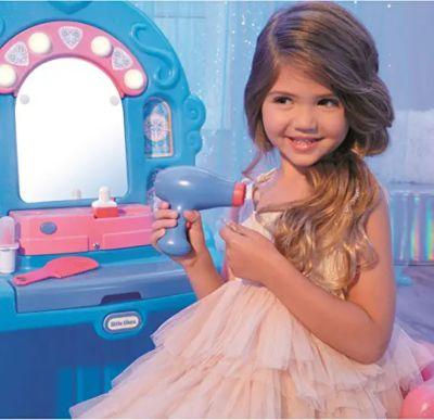 Tocador de princesa con espejo, luz, silla y accesorios