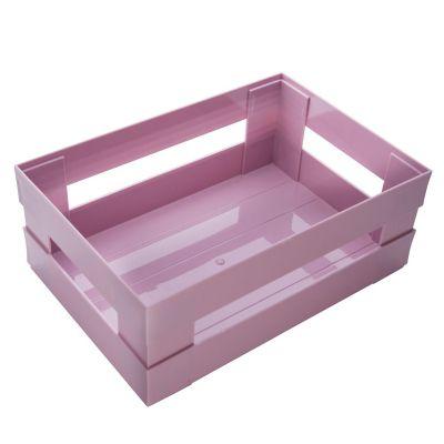 Canasto organizador de plástico rosa