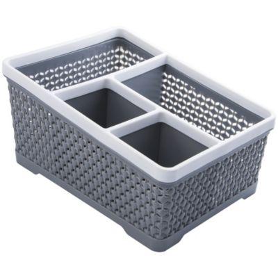 Canasto organizador de plástico con 4 divisiones gris y blanco