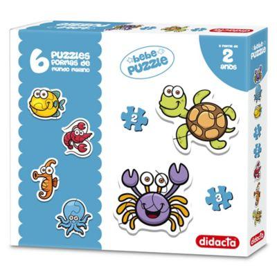 6 Puzzles formas de animales del mar 2 y 3 piezas