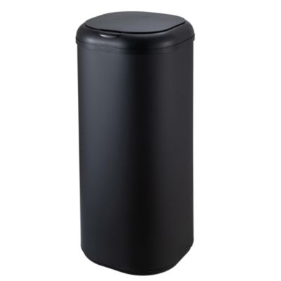 Papelero 30 L de acero negro tapa con sensor