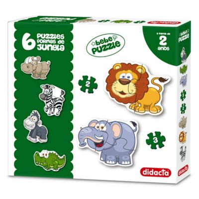 6 Puzzles formas de animales de jungla 2 y 3 piezas