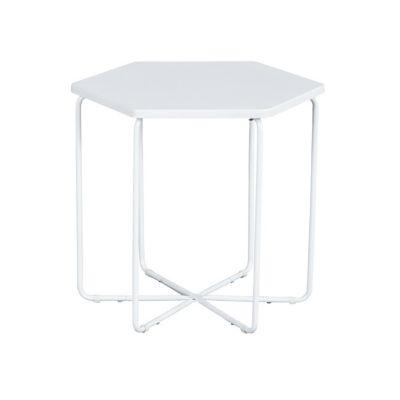 Mesa lateral de MDF hexagonal blanca