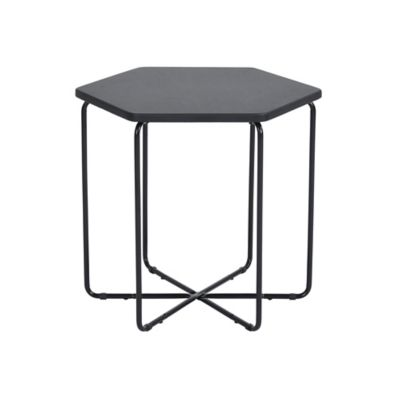 Mesa lateral de MDF hexagonal negra