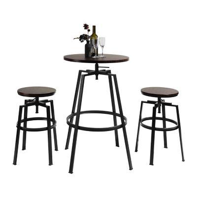 Juego de bar Amat 1 mesa y 2 sillas marrón y negro