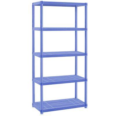 Estantería plástica azul con 5 estantes