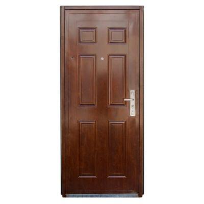 Puerta exterior de chapa reforzada marrón 85 cm izquierda